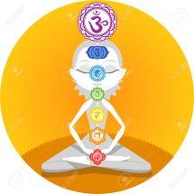 Meditation Meditating Asana Yoga Posture with Om Chakras Symbol Mandala